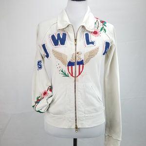 JWLA Embroidered Floral American Eagle LA Hoodie Q